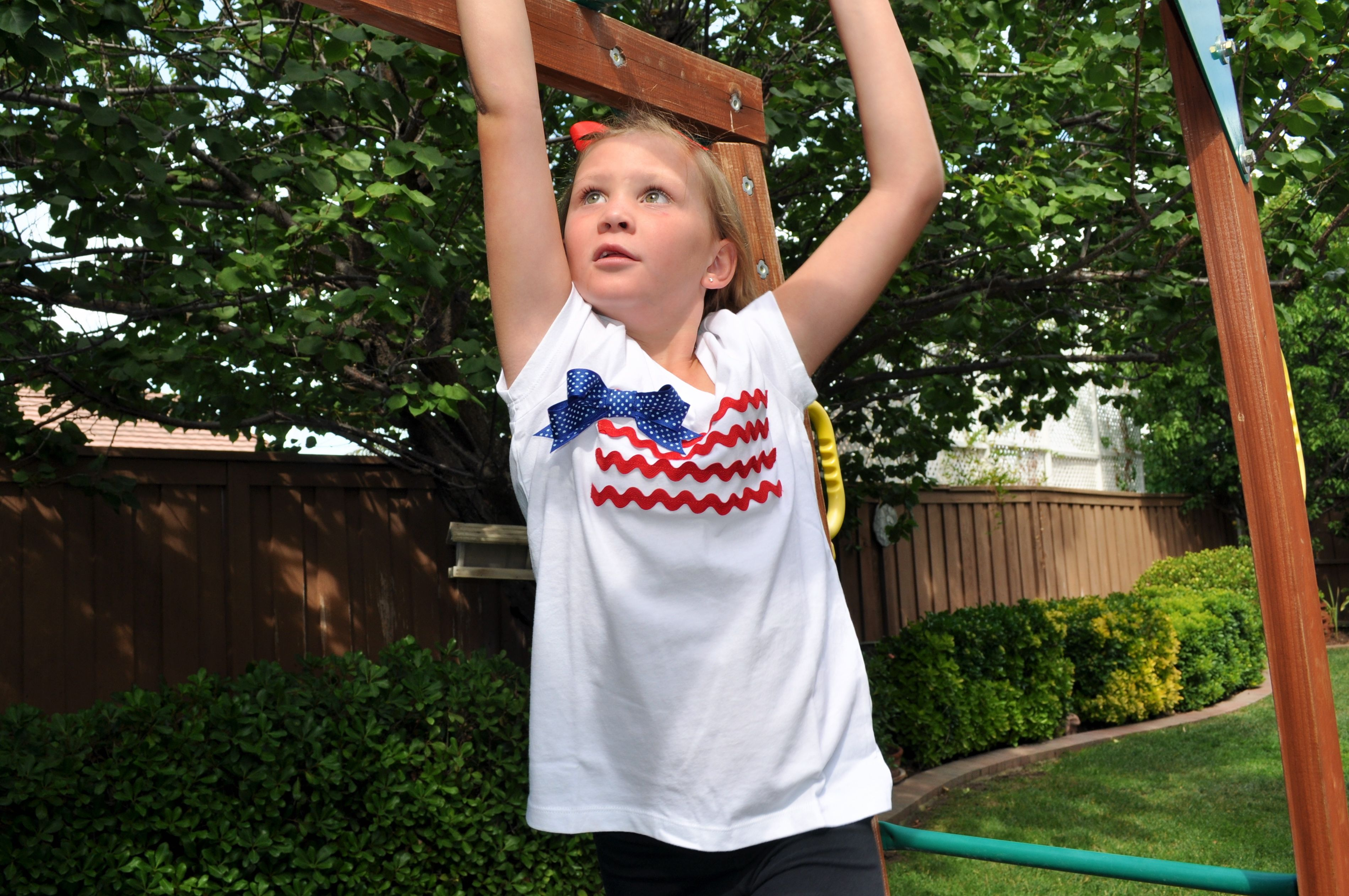 Little Girls American Flag Tee