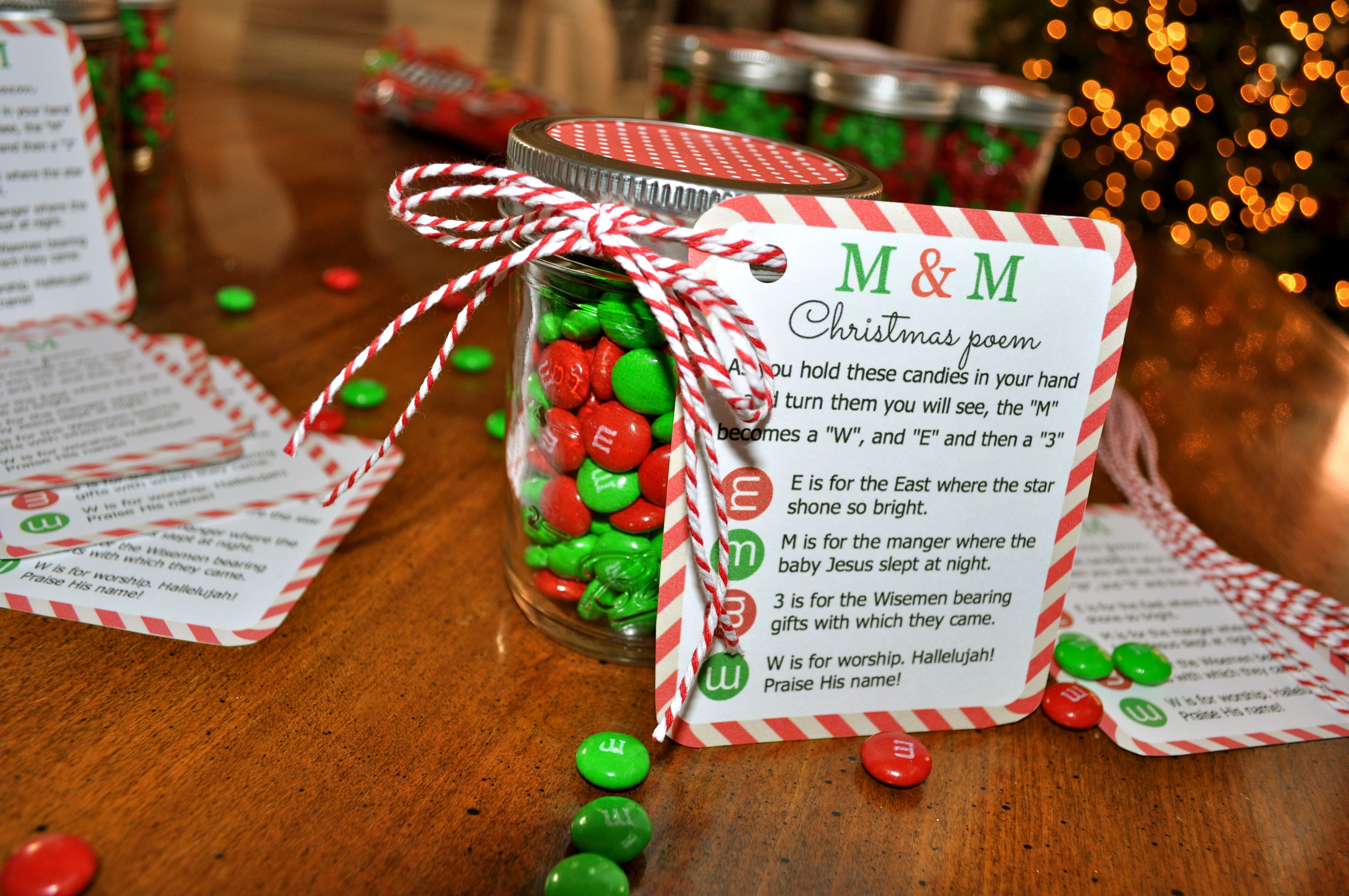 M&M Christmas Poem Candy Jar Tutorial