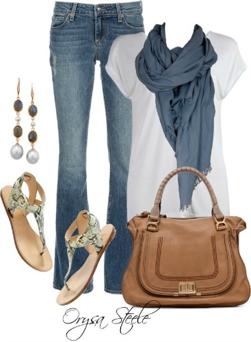 Blue Jeans with White Tee