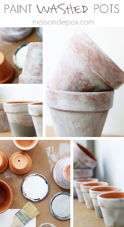 Paint Washed Pots Collage
