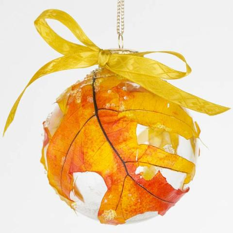 Frosted Fallen Leaf Ornament