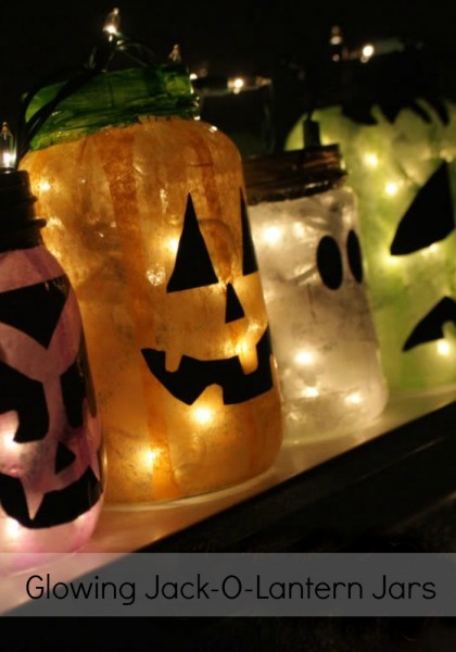 Glowing Jack-O-Lantern Jars