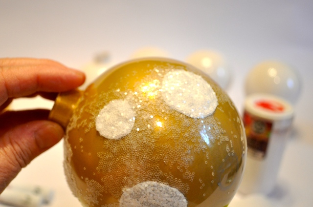 Hand Painted Gold Ornament with Dots and Glitter