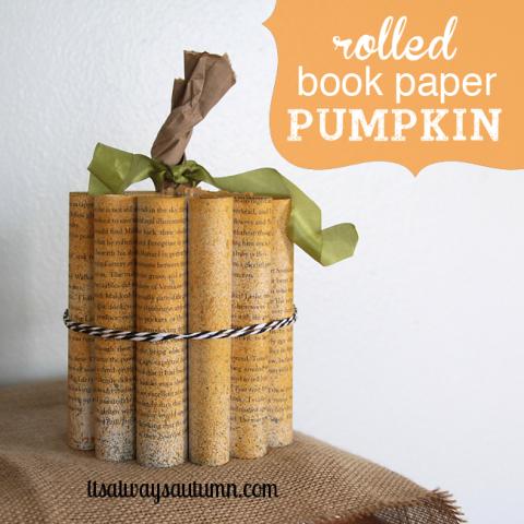 Rolled Book Paper Pumpkin