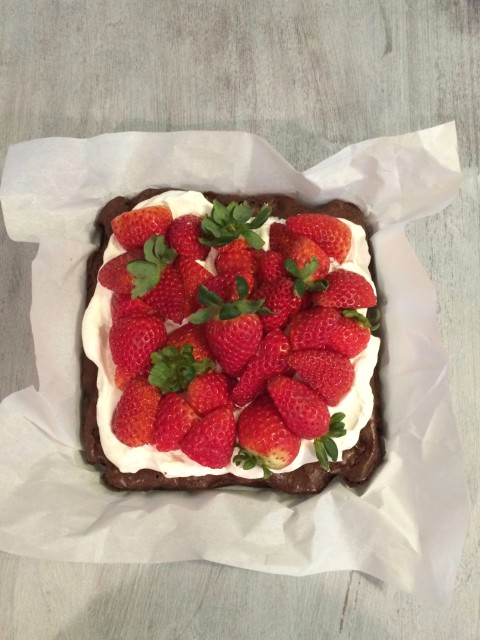 Brownies with Whipped Cream and Fresh Strawberries - Simple Sojourns