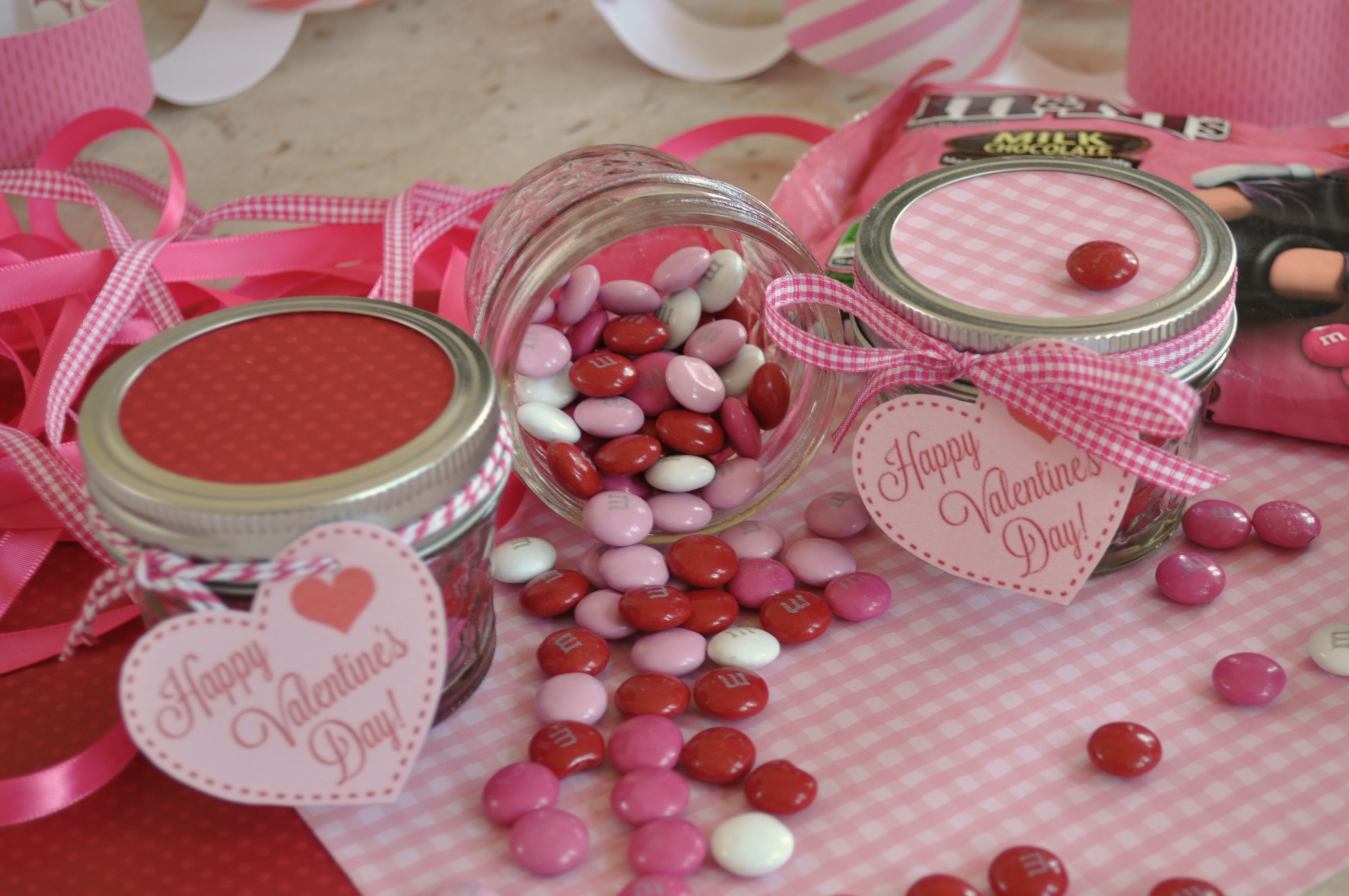 Valentine M&M Jar with Printable Tag