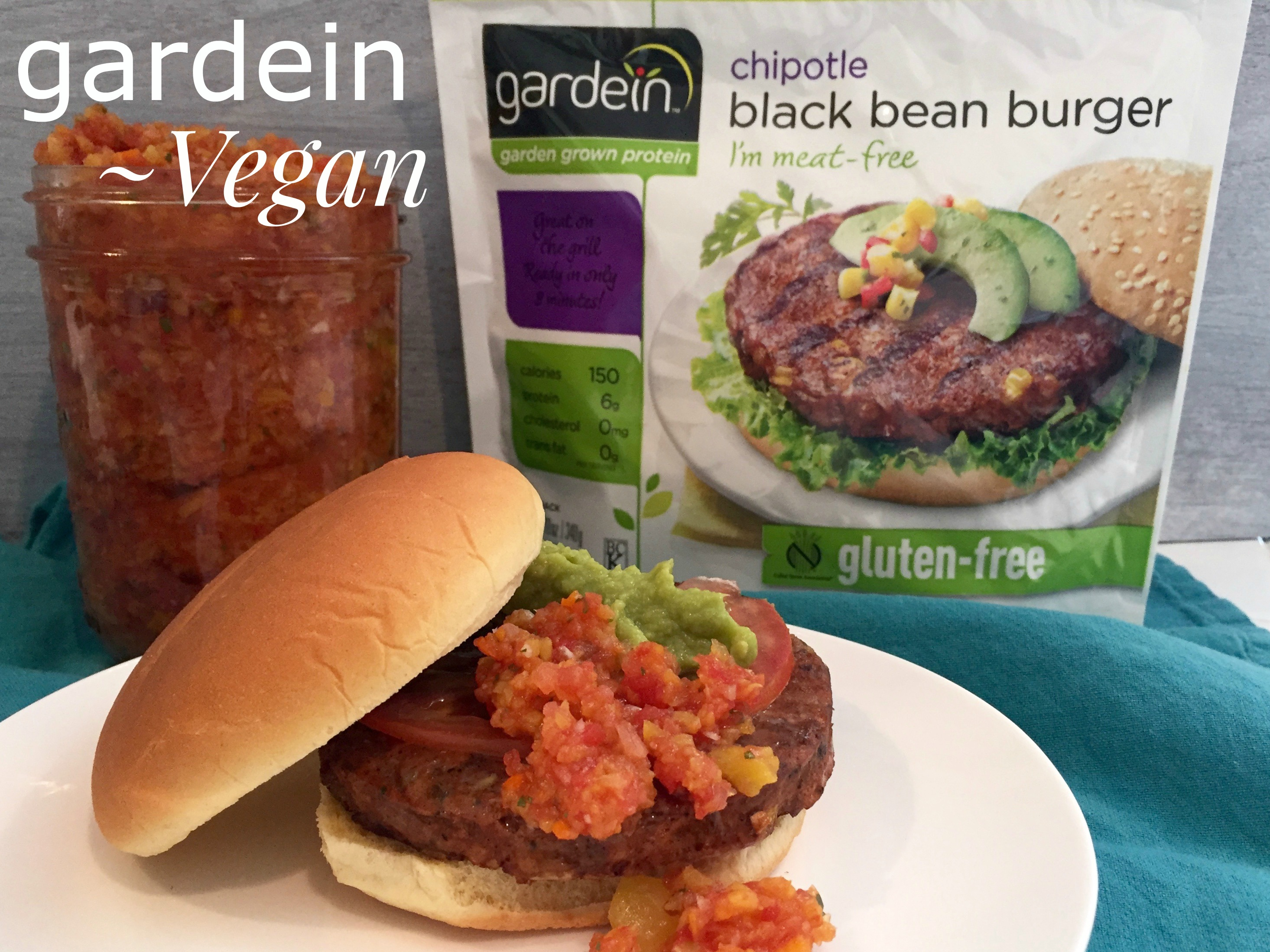 Fresh Peach Salsa with Vegan Crab Cakes and Gluten Free Vegan Black Bean Burgers