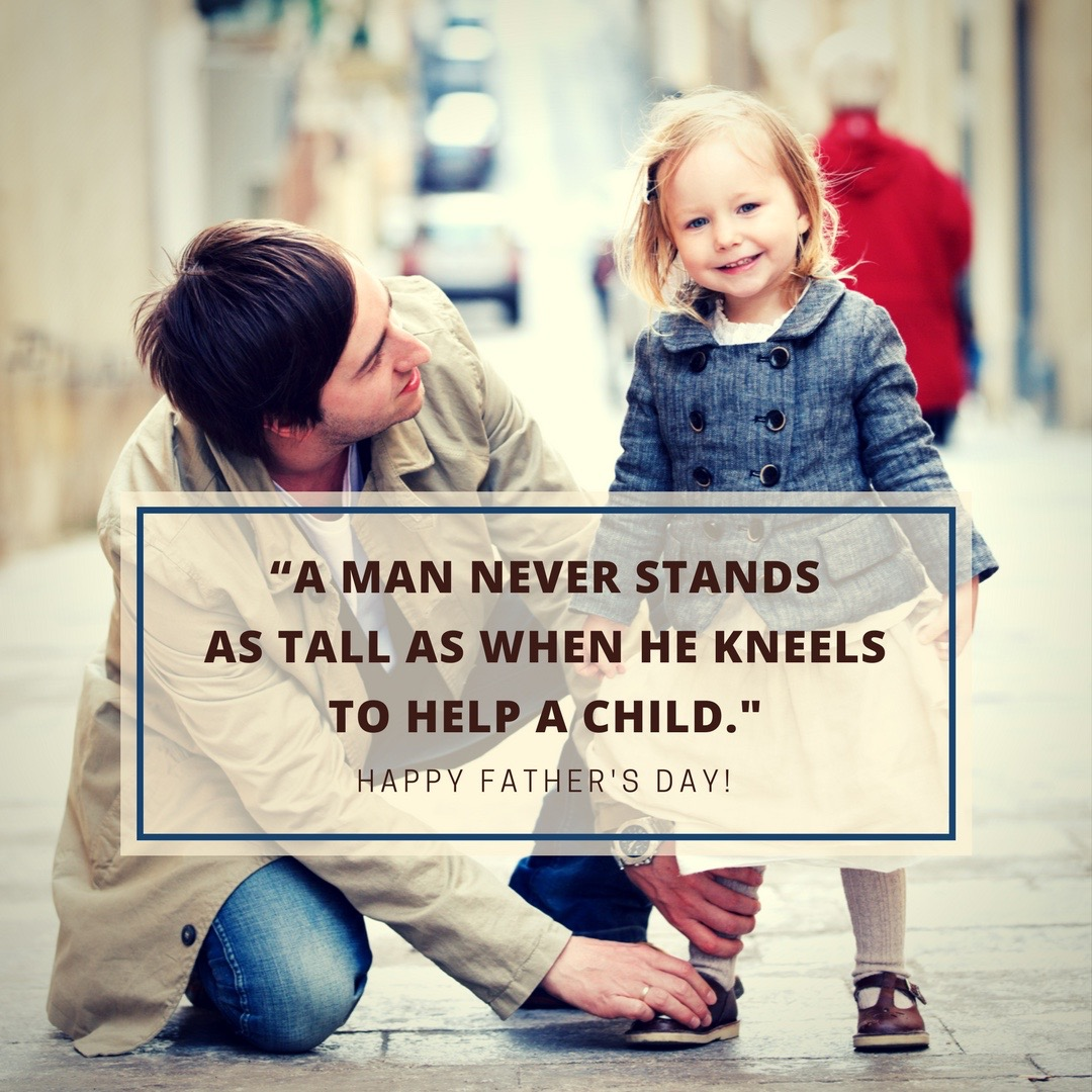 A Man Never Stands As Tall As When He Kneels To Help A Child